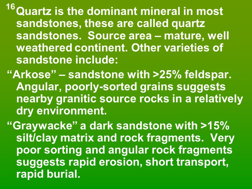 Quartz is the dominant mineral in most sandstones, these are called quartz sandstones. Source area – mature, well weathered continent. Other varieties