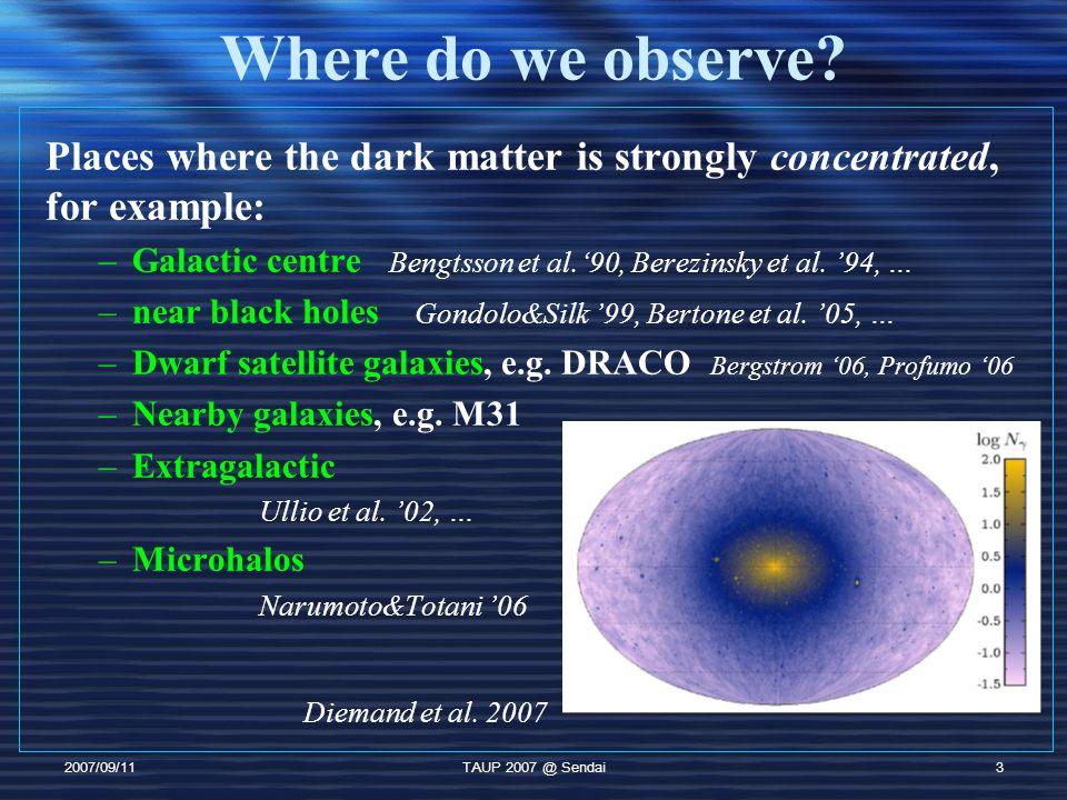 2007/09/11TAUP 2007 @ Sendai4 Galactic Centre Flux of dark matter annihilation signal well studied [ Bengtsson et al ('90), Berezinsky '94, Bergstrom & Ullio ('97), etc ] DM particle properties DM density distribution i = ,, e, p, … Normalizing the line of sight integral to the solar dark matter density J s, we can define J : Region of interest m > O(100) GeV dimensionless enhancement factor