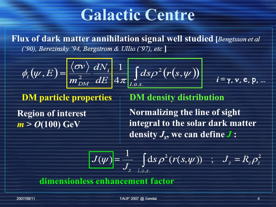 2007/09/11TAUP 2007 @ Sendai5 Galactic Centre (2) GC flux predictions can vary considerably ProfileγAve J Moore1.53×10 4 NFW1.010 3 Kra0.730 Inner (<1pc) profile uncertain: N-body simulations generally predict a cusp observations show no clear evidence of a cusp/core This causes a large difference.