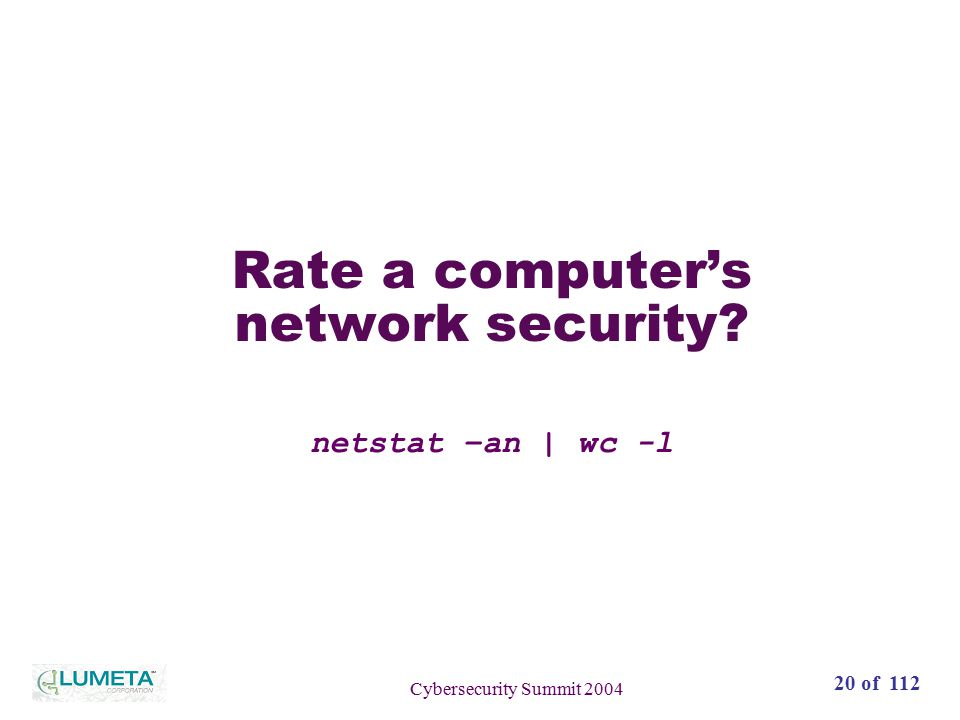 72 slides20 of 112 Cybersecurity Summit 2004 Rate a computer's network security.