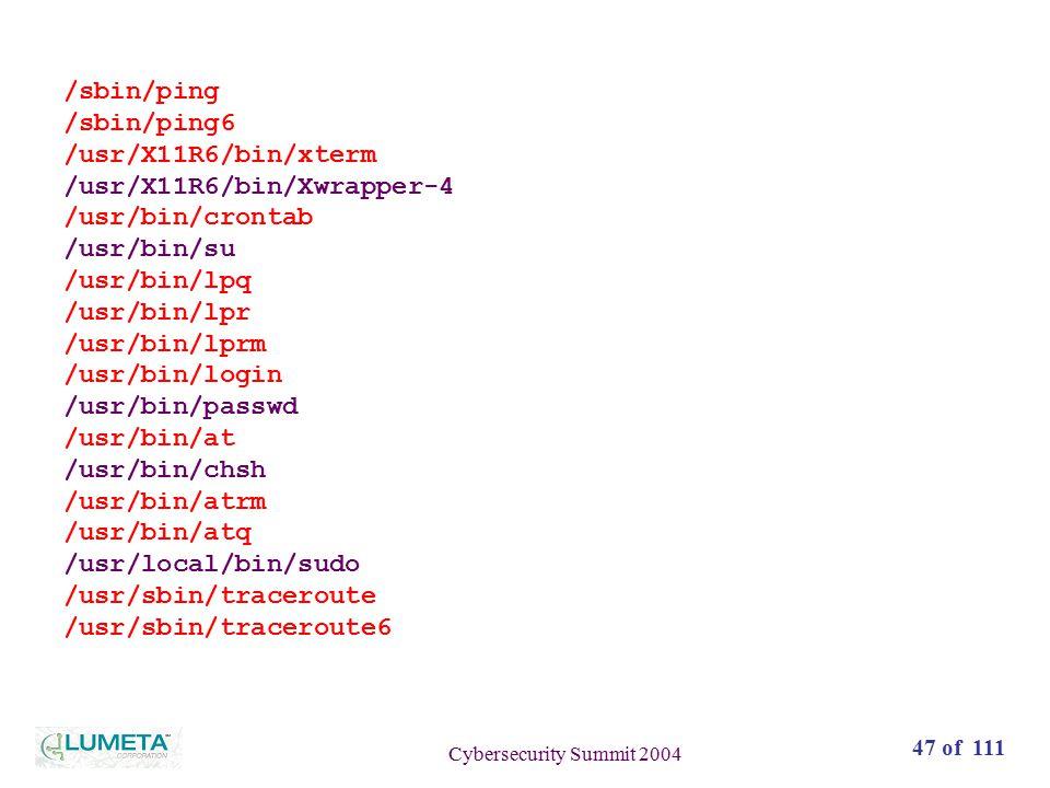 47 of 111 Cybersecurity Summit 2004 /sbin/ping /sbin/ping6 /usr/X11R6/bin/xterm /usr/X11R6/bin/Xwrapper-4 /usr/bin/crontab /usr/bin/su /usr/bin/lpq /usr/bin/lpr /usr/bin/lprm /usr/bin/login /usr/bin/passwd /usr/bin/at /usr/bin/chsh /usr/bin/atrm /usr/bin/atq /usr/local/bin/sudo /usr/sbin/traceroute /usr/sbin/traceroute6