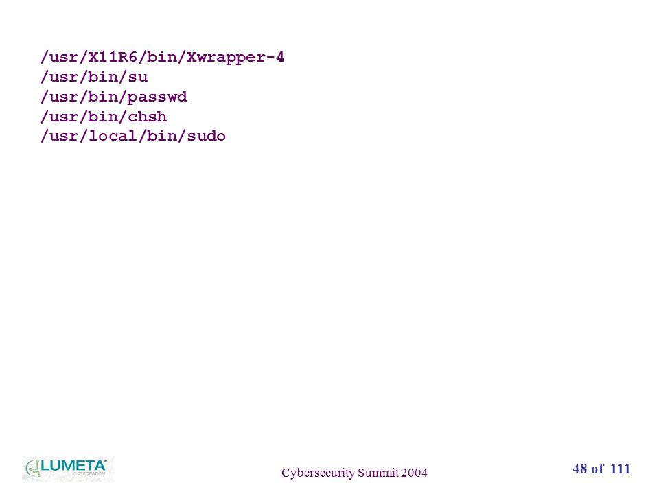 48 of 111 Cybersecurity Summit 2004 /usr/X11R6/bin/Xwrapper-4 /usr/bin/su /usr/bin/passwd /usr/bin/chsh /usr/local/bin/sudo