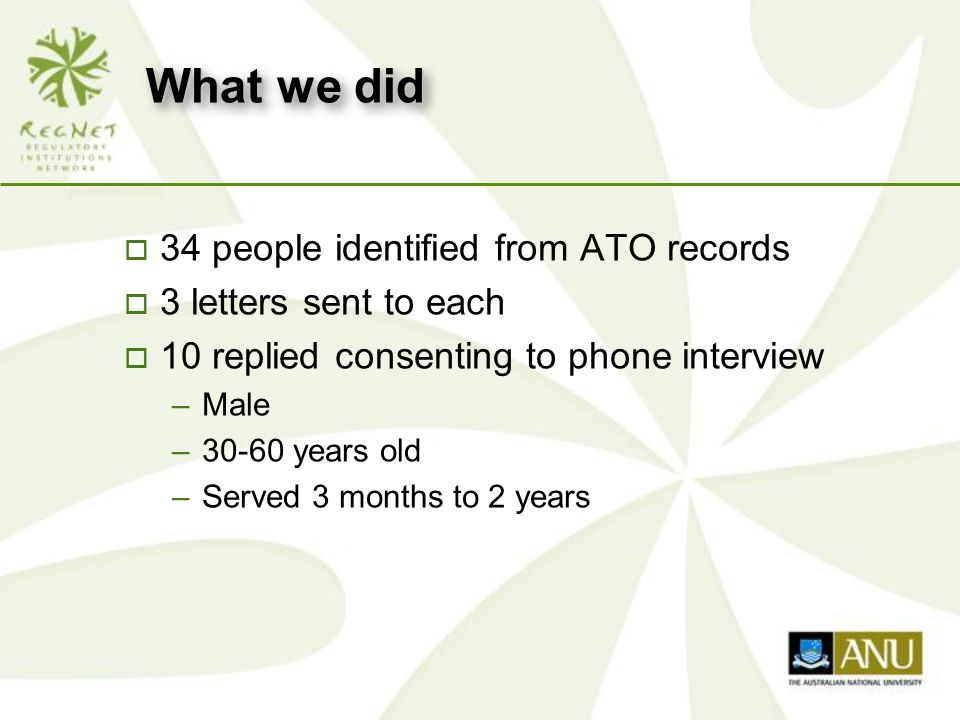 What we did o 34 people identified from ATO records o 3 letters sent to each o 10 replied consenting to phone interview –Male –30-60 years old –Served 3 months to 2 years