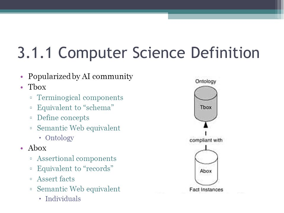 3.1.1 Computer Science Definition Popularized by AI community Tbox ▫Terminogical components ▫Equivalent to schema ▫Define concepts ▫Semantic Web equivalent  Ontology Abox ▫Assertional components ▫Equivalent to records ▫Assert facts ▫Semantic Web equivalent  Individuals