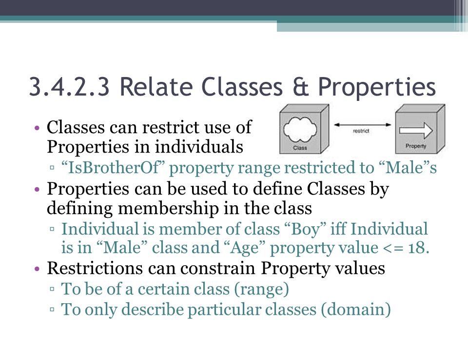 "3.4.2.3 Relate Classes & Properties Classes can restrict use of Properties in individuals ▫""IsBrotherOf"" property range restricted to ""Male""s Properti"