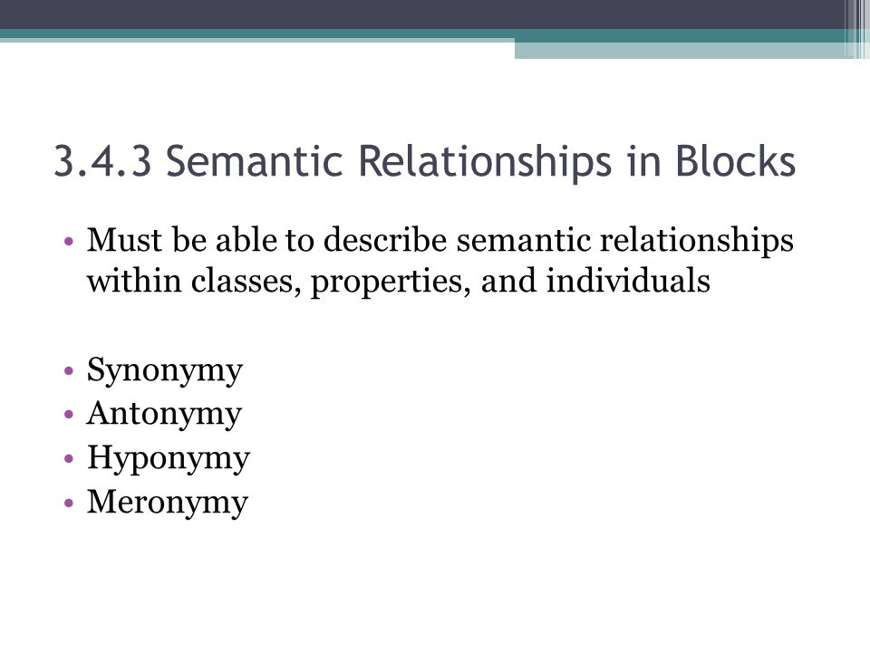 3.4.3 Semantic Relationships in Blocks Must be able to describe semantic relationships within classes, properties, and individuals Synonymy Antonymy Hyponymy Meronymy
