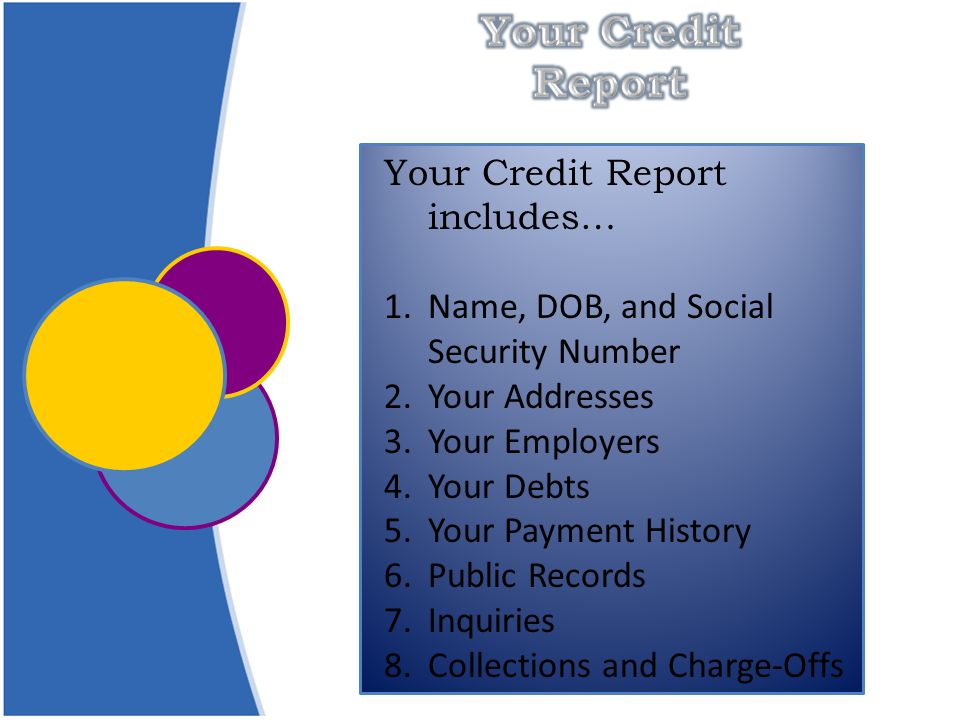 Your Credit Report includes… 1.Name, DOB, and Social Security Number 2.Your Addresses 3.Your Employers 4.Your Debts 5.Your Payment History 6.Public Records 7.Inquiries 8.Collections and Charge-Offs