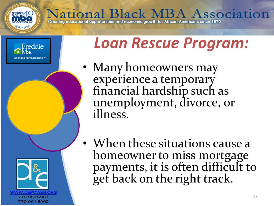 45 Loan Rescue Program: Many homeowners may experience a temporary financial hardship such as unemployment, divorce, or illness.