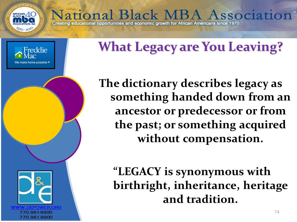 74 www.depower.org 770.961-6900 770.961.8900 What Legacy are You Leaving.