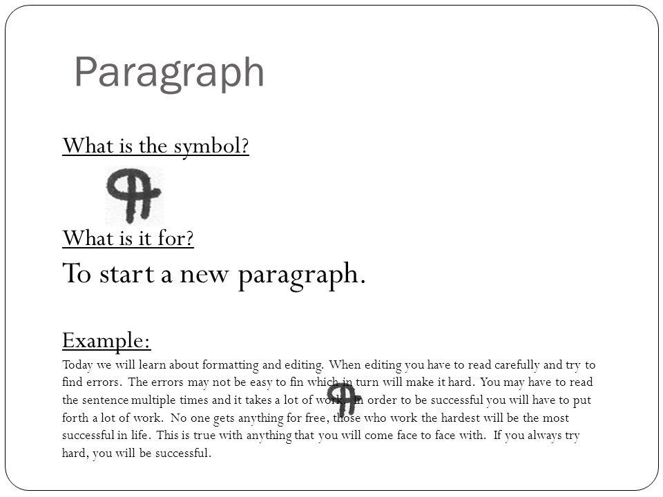 Paragraph corrections