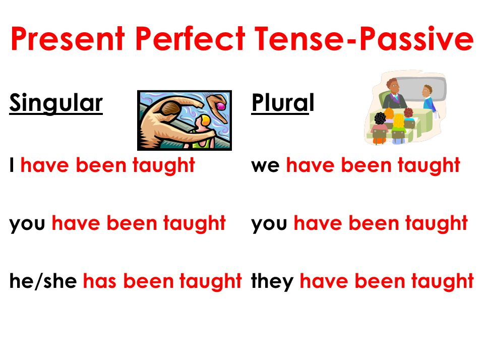 Present Perfect Tense-Passive Singular I have been taught you have been taught he/she has been taught Plural we have been taught you have been taught
