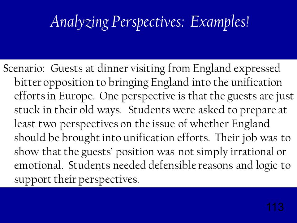 113 Analyzing Perspectives: Examples.