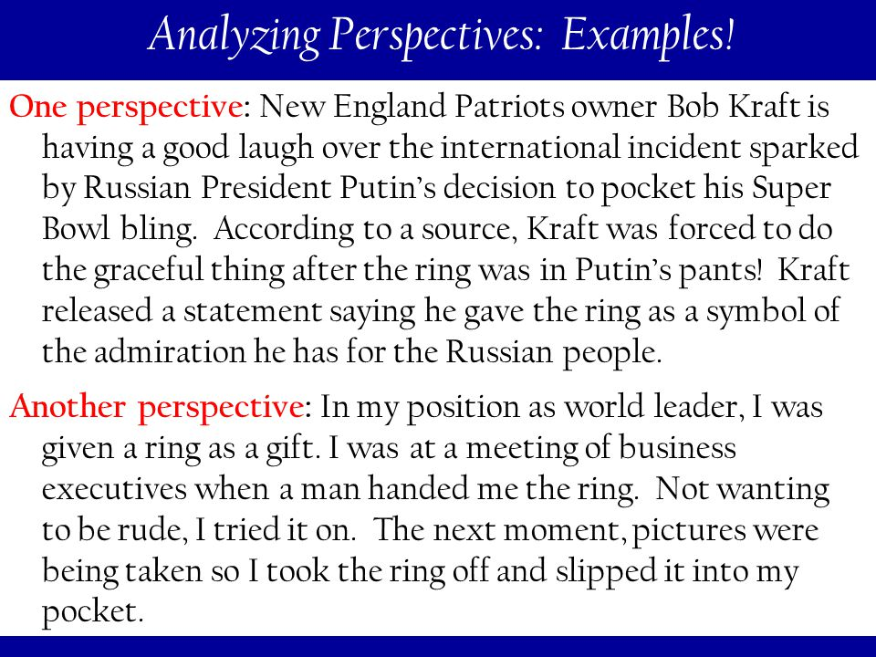 114 Analyzing Perspectives: Examples.