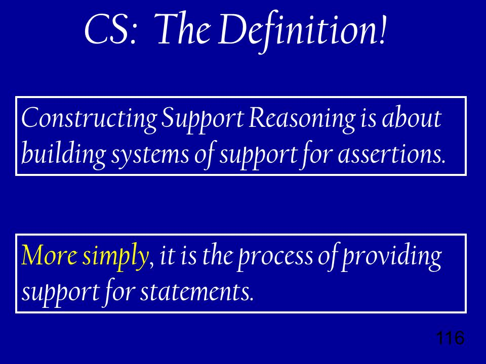 116 Constructing Support Reasoning is about building systems of support for assertions.