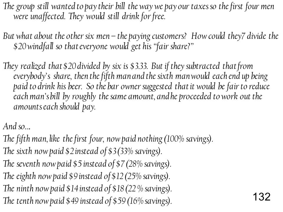 132 The group still wanted to pay their bill the way we pay our taxes so the first four men were unaffected.