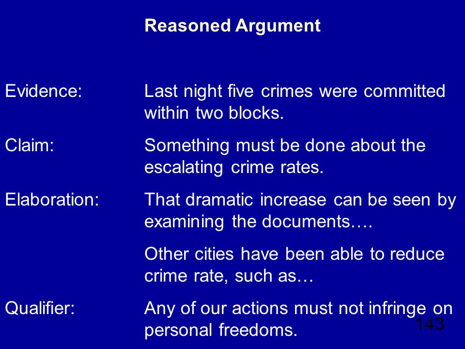 143 Reasoned Argument Evidence: Last night five crimes were committed within two blocks.