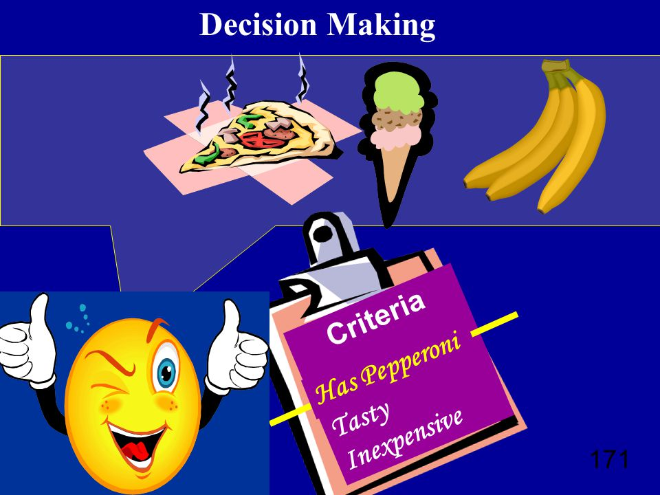 171 Decision Making ? Criteria Nutritious Tasty Inexpensive Has Pepperoni