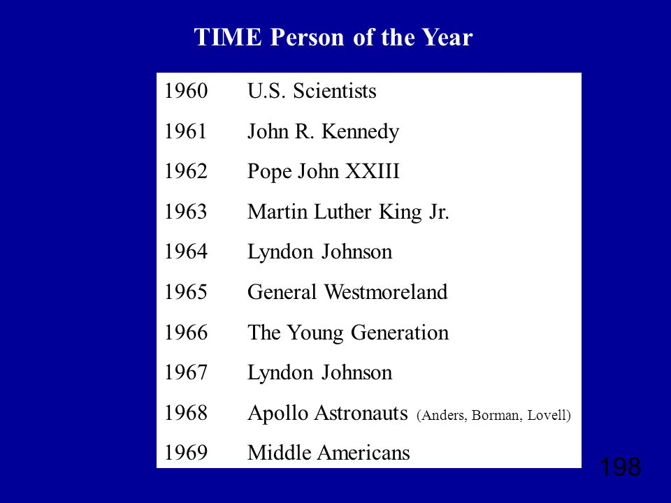 198 TIME Person of the Year 1960 1961 1962 1963 1964 1965 1966 1967 1968 1969 U.S.