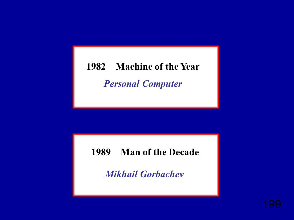 199 1982Machine of the Year 1989Man of the Decade Personal Computer Mikhail Gorbachev