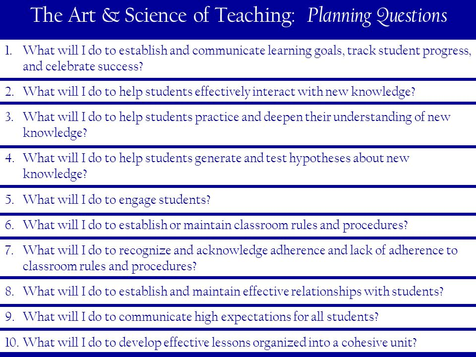 30 The Art & Science of Teaching: Planning Questions 1.What will I do to establish and communicate learning goals, track student progress, and celebrate success.