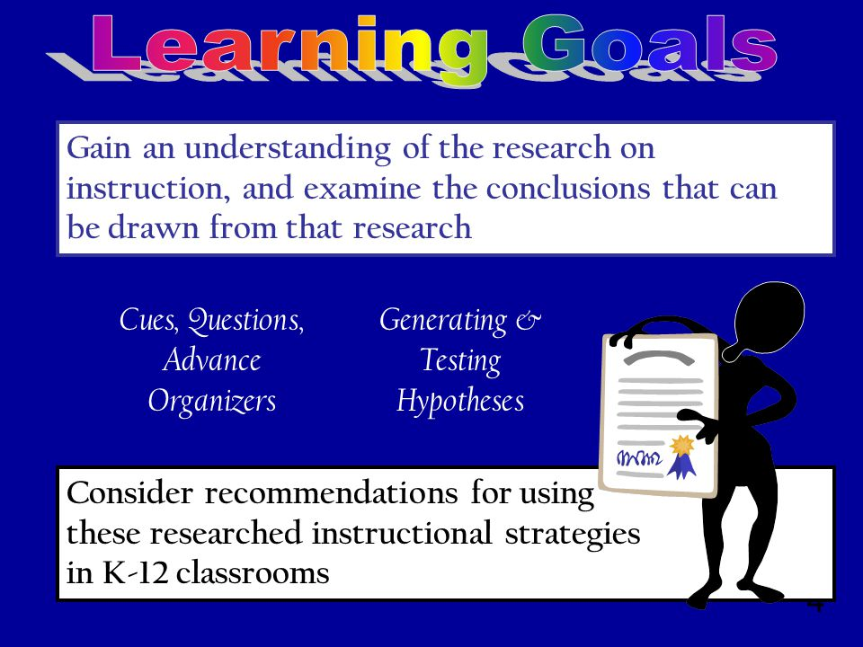 4 Consider recommendations for using these researched instructional strategies in K-12 classrooms Gain an understanding of the research on instruction, and examine the conclusions that can be drawn from that research Cues, Questions, Advance Organizers Generating & Testing Hypotheses