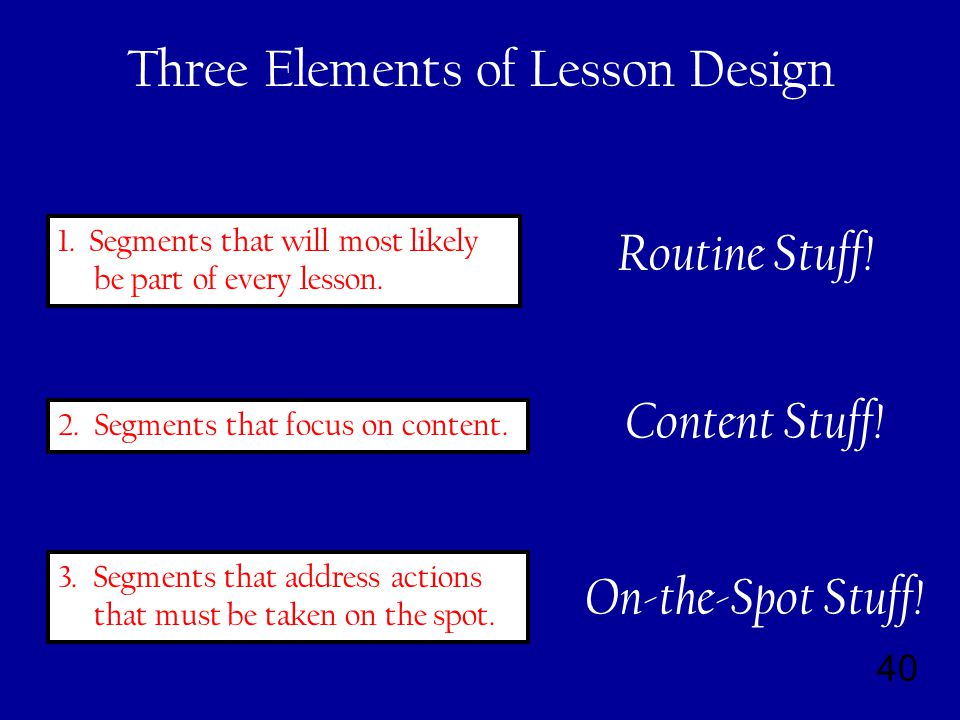 40 Three Elements of Lesson Design 1. Segments that will most likely be part of every lesson.