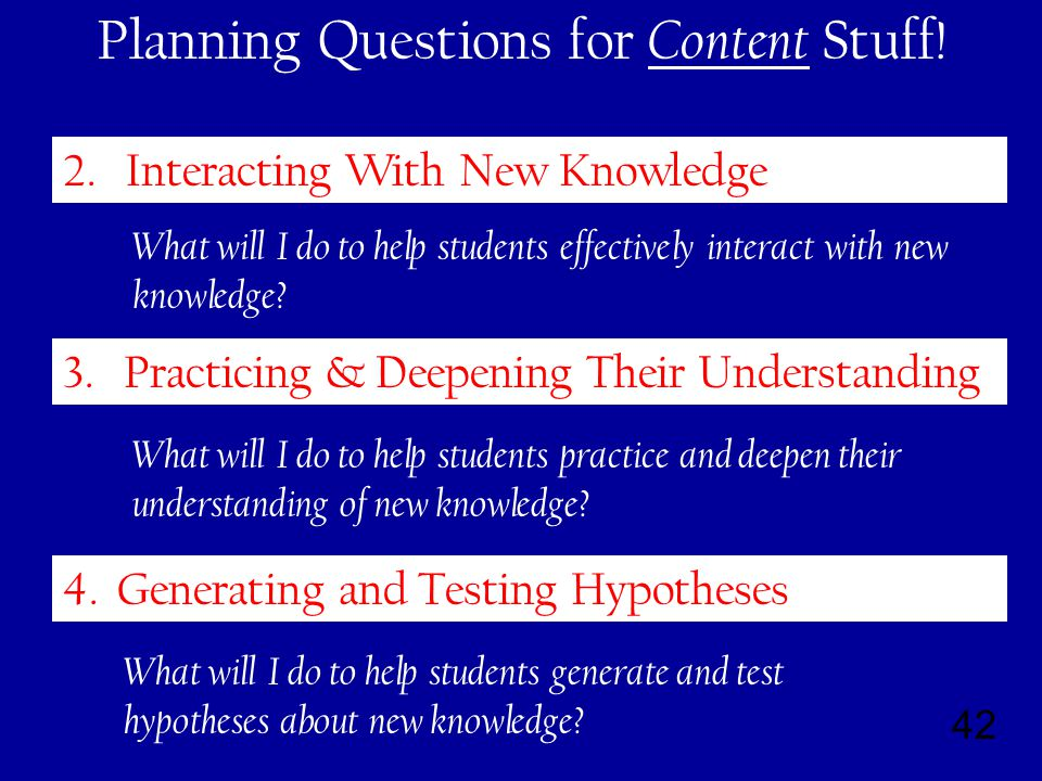 42 Planning Questions for Content Stuff. 4. Generating and Testing Hypotheses 2.