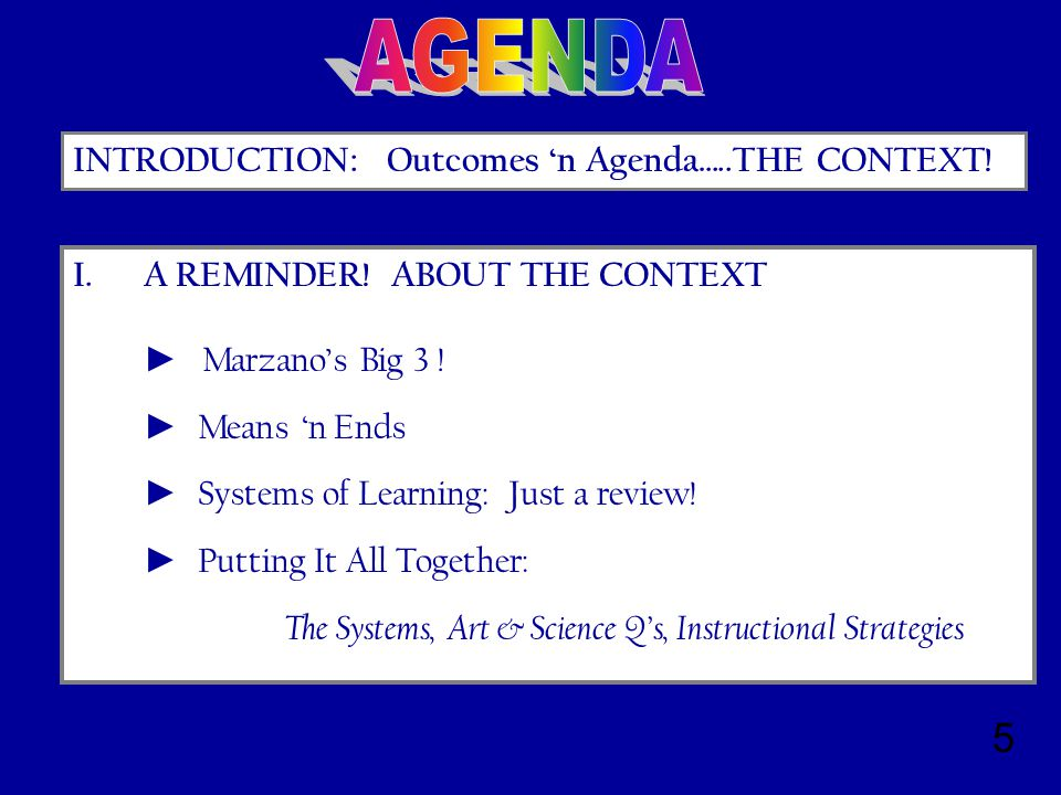 5 INTRODUCTION: Outcomes 'n Agenda…..THE CONTEXT. I.A REMINDER.