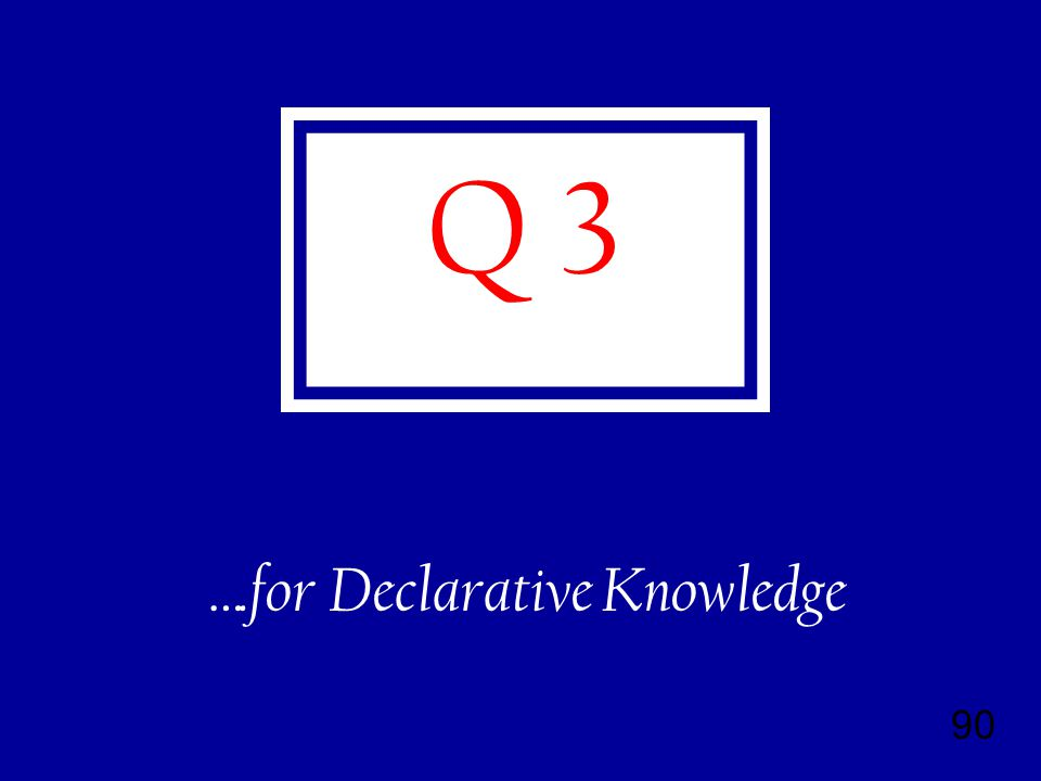 90 Q 3 ….for Declarative Knowledge