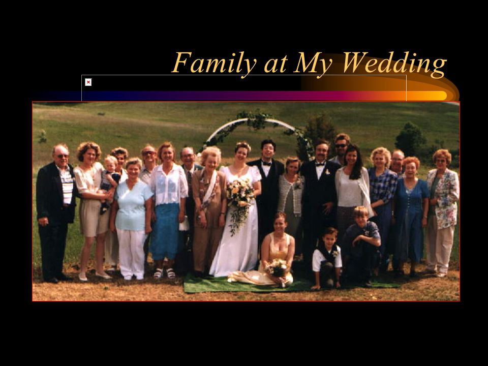 My Family Sheila, mother, journalist, 53 Wayne, father, retired magician, 54 Marissa, sister, computer prog., 26 Kimberly Sager, wife, computer prog., 32 Lauren, female cat, fat, 11 Slick, male cat, diabetic, 11