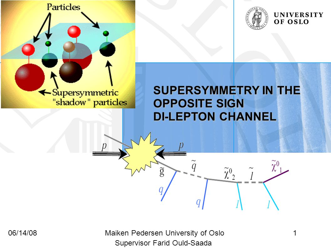 1Maiken Pedersen University of Oslo06/14/08 SUPERSYMMETRY IN THE OPPOSITE SIGN DI-LEPTON CHANNEL Supervisor Farid Ould-Saada