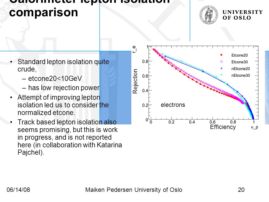 20Maiken Pedersen University of Oslo06/14/08 Efficiency Rejection Calorimeter lepton isolation comparison electrons Standard lepton isolation quite crude, –etcone20<10GeV –has low rejection power Attempt of improving lepton isolation led us to consider the normalized etcone.