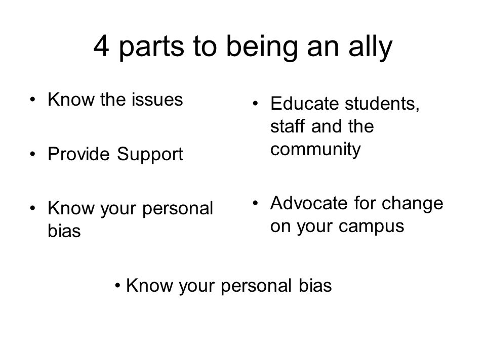 4 parts to being an ally Know the issues Provide Support Know your personal bias Educate students, staff and the community Advocate for change on your