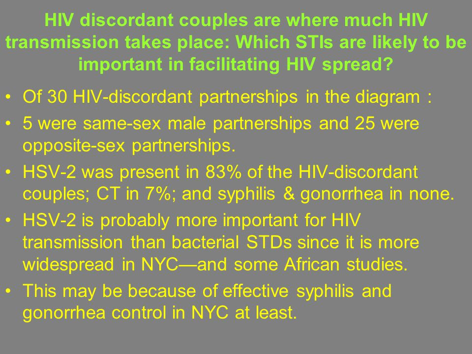 HIV discordant couples are where much HIV transmission takes place: Which STIs are likely to be important in facilitating HIV spread? Of 30 HIV-discor
