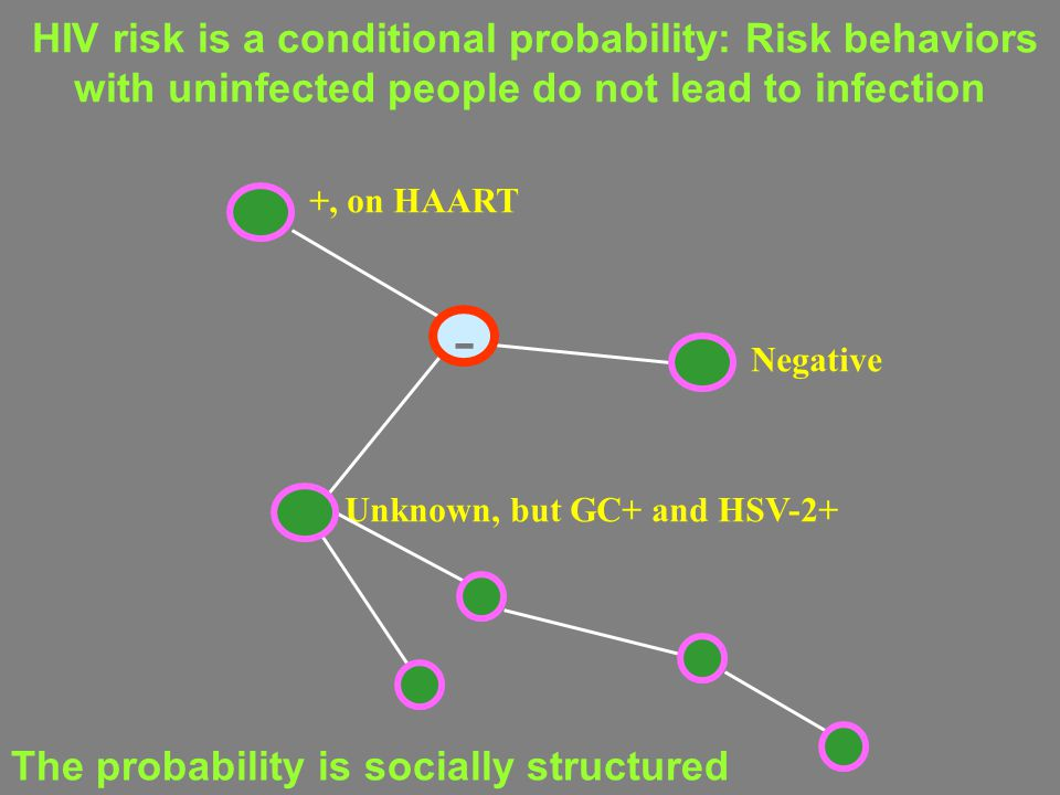 HIV risk is a conditional probability: Risk behaviors with uninfected people do not lead to infection +, on HAART Negative Unknown, but GC+ and HSV-2+