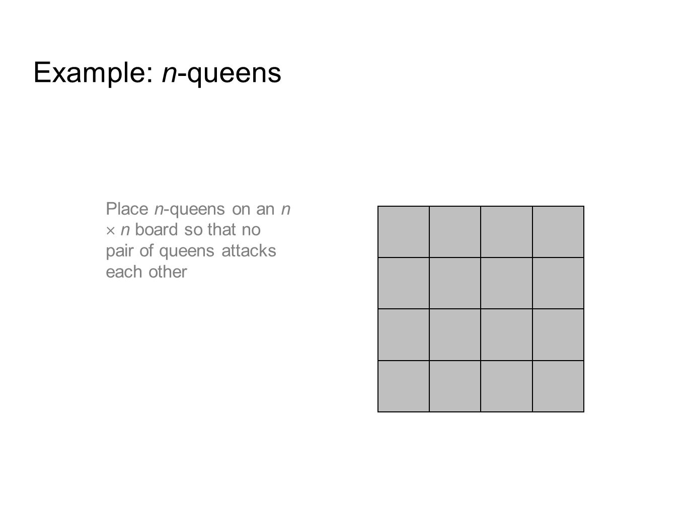 Example: n-queens Place n-queens on an n  n board so that no pair of queens attacks each other