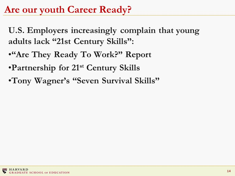 14 Are our youth Career Ready. U.S.