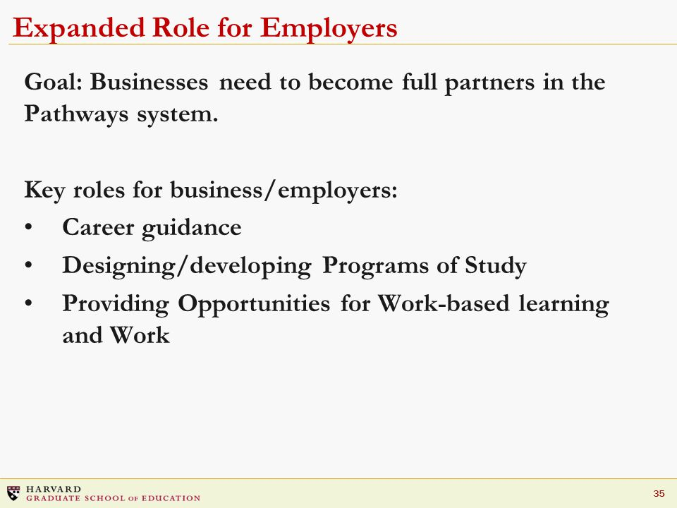35 Expanded Role for Employers Goal: Businesses need to become full partners in the Pathways system.