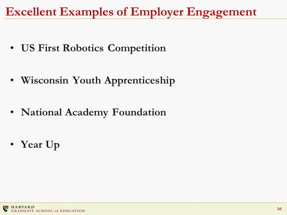 36 Excellent Examples of Employer Engagement US First Robotics Competition Wisconsin Youth Apprenticeship National Academy Foundation Year Up