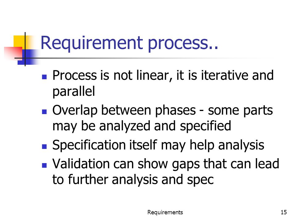 Requirements15 Requirement process.. Process is not linear, it is iterative and parallel Overlap between phases - some parts may be analyzed and speci