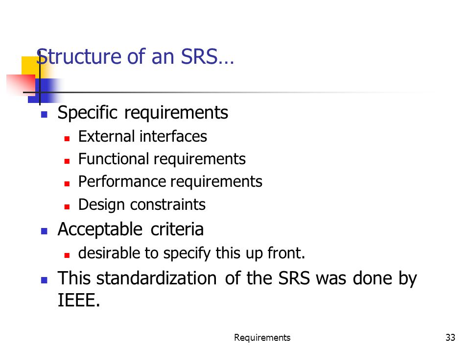 Requirements33 Structure of an SRS… Specific requirements External interfaces Functional requirements Performance requirements Design constraints Acce