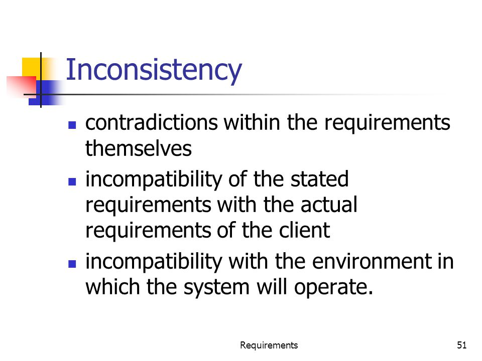 Inconsistency contradictions within the requirements themselves incompatibility of the stated requirements with the actual requirements of the client