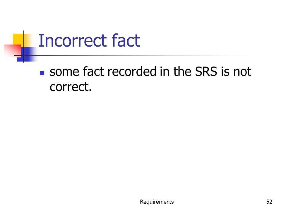 Incorrect fact some fact recorded in the SRS is not correct. Requirements52