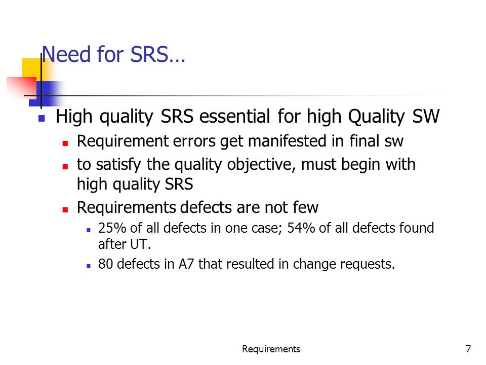 Requirements48 Requirements Validation The basic objective of the requirements validation activity is to ensure that the SRS reflects the actual requirements accurately and clearly.