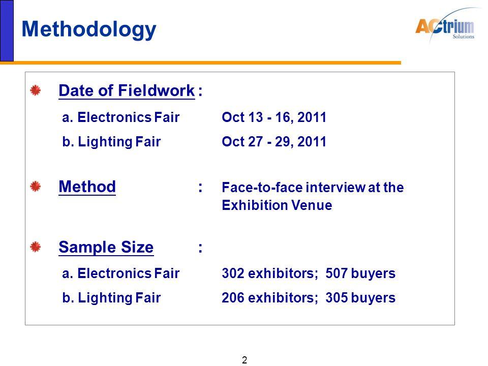 2 Methodology Date of Fieldwork: a. Electronics Fair Oct 13 - 16, 2011 b.