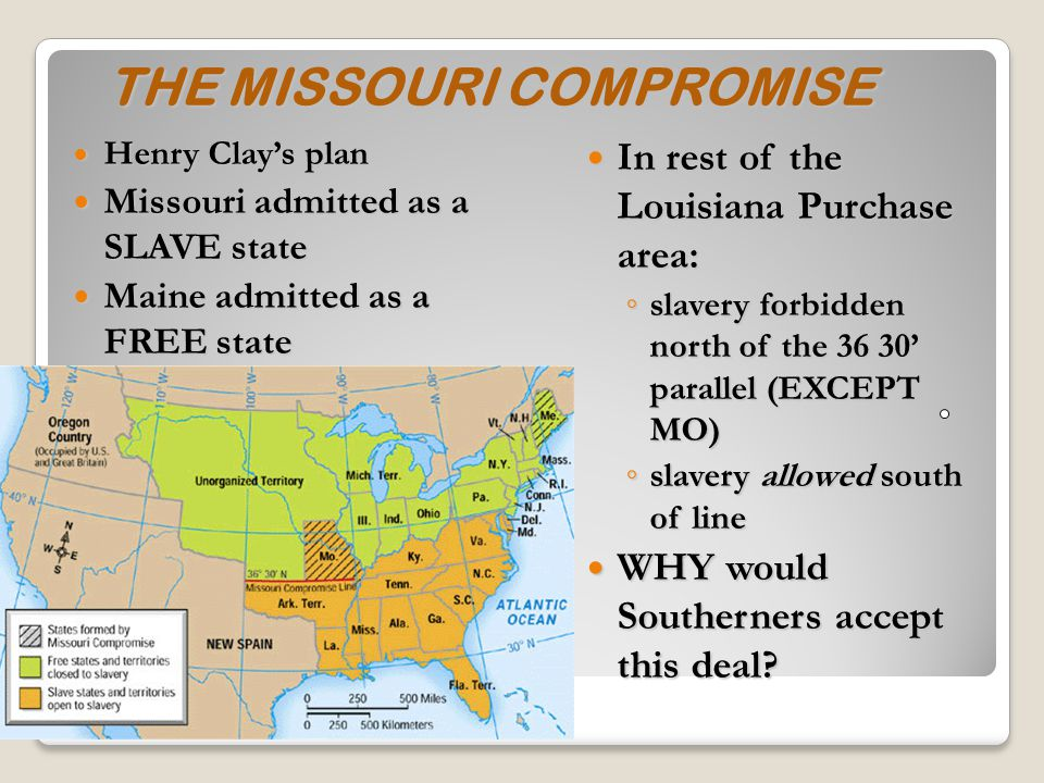 SLAVERY 1 st state created from LA Purchase – MO Threat to sectional balance in Senate with 11 free and 11 slave states House was already controlled by free states Tallmadge Amendment Tallmadge Amendment – passed by House of Reps (defeated in Senate) No more slaves to MO & gradual emancipation of children of those already there (age 25)
