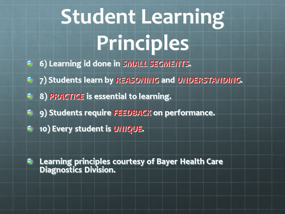 Student Learning Principles 6) Learning id done in SMALL SEGMENTS.