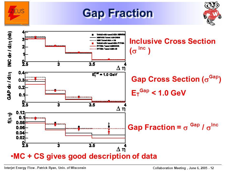 Interjet Energy Flow. Patrick Ryan, Univ. of Wisconsin Collaboration Meeting, June 6, 2005 - 12 Gap Fraction Gap Fraction MC + CS gives good descripti