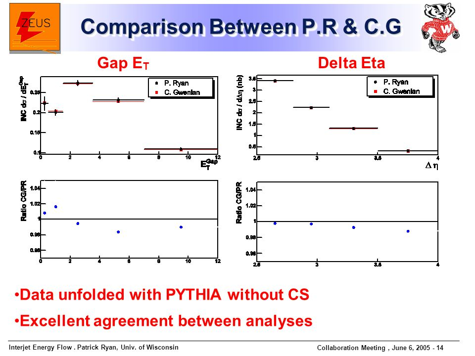 Interjet Energy Flow. Patrick Ryan, Univ. of Wisconsin Collaboration Meeting, June 6, 2005 - 14 Comparison Between P.R & C.G Gap E T Delta Eta Data un