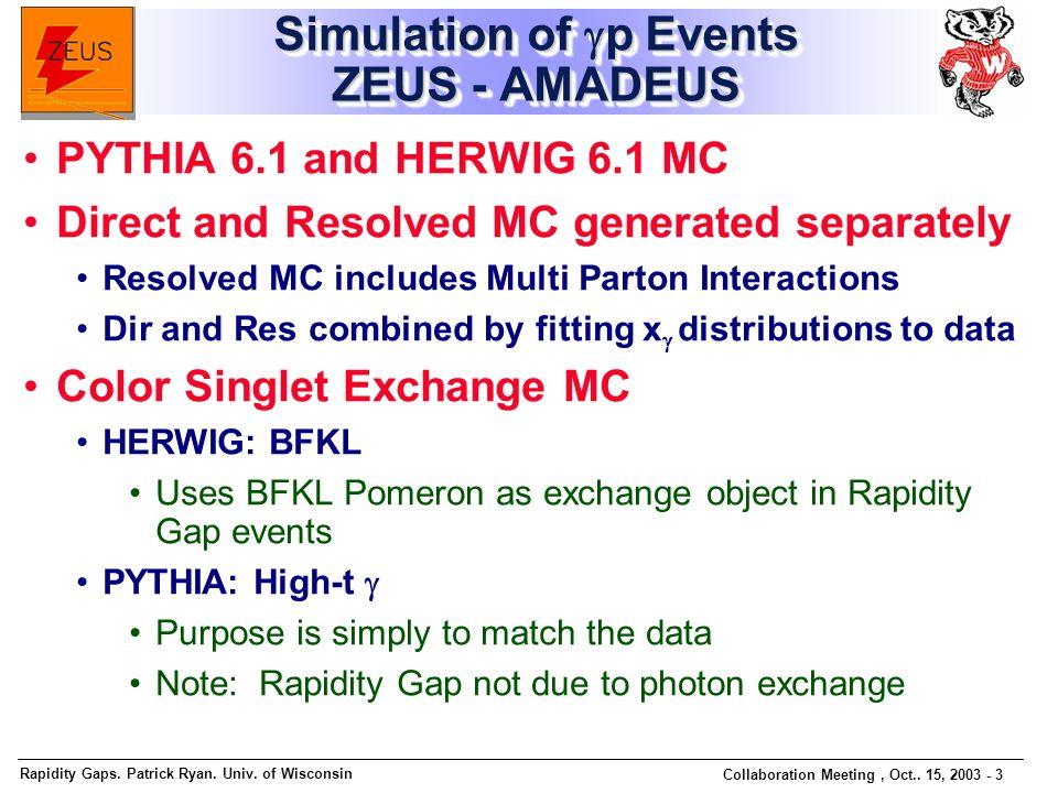 Rapidity Gaps. Patrick Ryan. Univ. of Wisconsin Collaboration Meeting, Oct.. 15, 2003 - 3 Simulation of  p Events ZEUS - AMADEUS PYTHIA 6.1 and HERWI